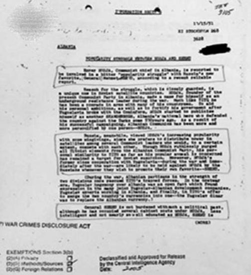 Faksimile e raportit të CIA