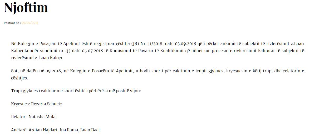 Njoftimi i KPA-së