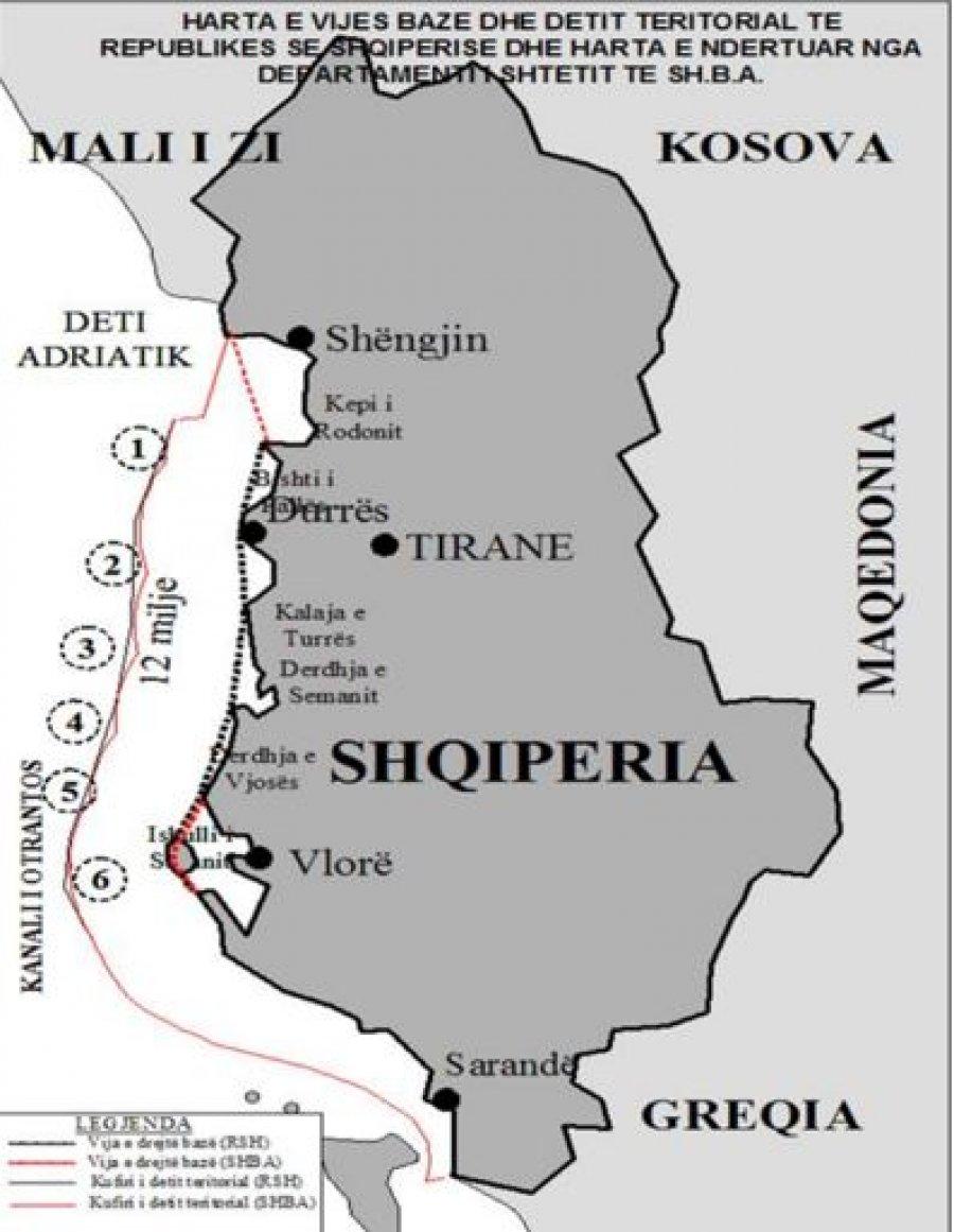 Ilustrim 4: Hartë e Detit Territorial të Republikës së Shqipërisë [shkalla nuk jepet]. Burimi: A. Meçollari, UNCLOS 1982 dhe vija bazë e RSH, QKSM, Tiranë, 2014, f. 27.