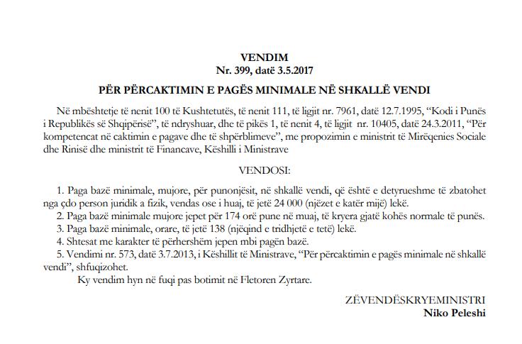Faksimile e VKM-së së datës 3 Maj 2018, aktualisht në fuqi