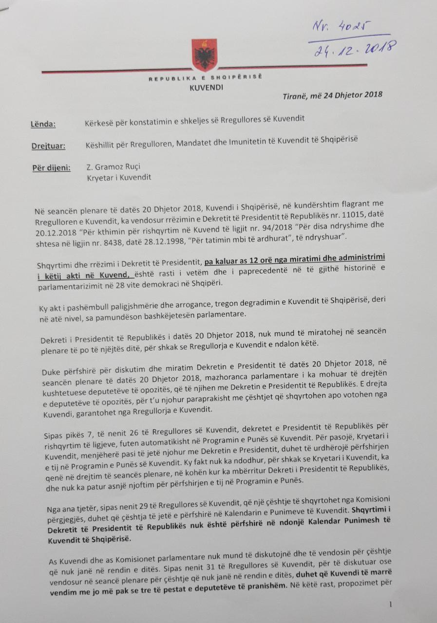 Po asgjësohet opozita   PD dhe LSI i shkruajnë kreut të Kuvendit  ja arsyeja