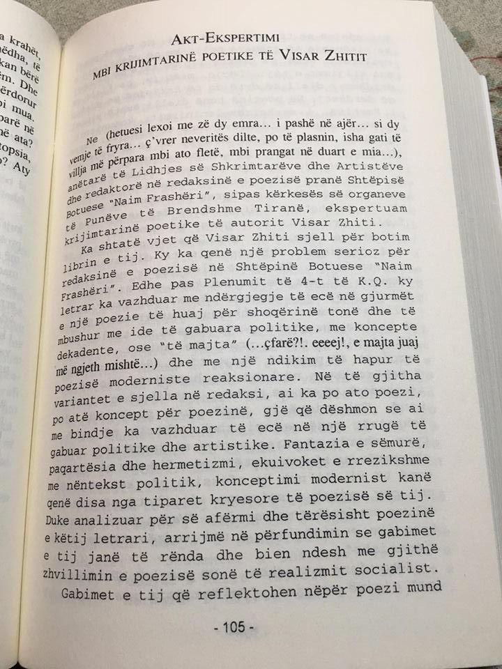 Dokumenti i publikur nga Agron Tufa, që tregon ekspertizën për Visa Zhitit