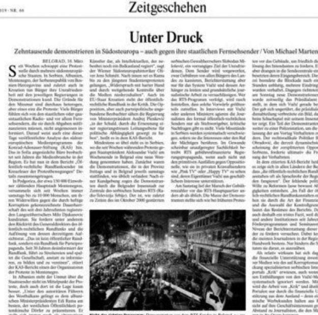 Faksimile e gazetës gjermane, ku flet Schmitt