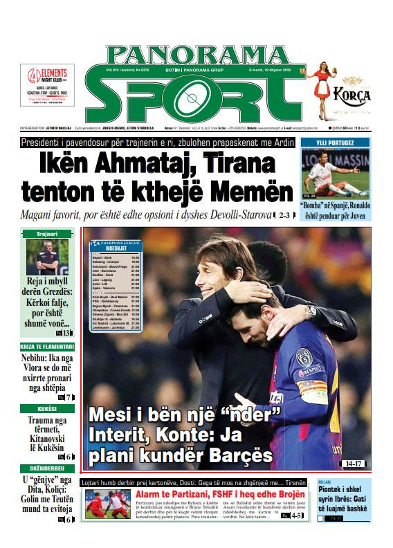 Lexoni Faqen E Pare Te Gazetes Panorama Dhe Panorama Sport