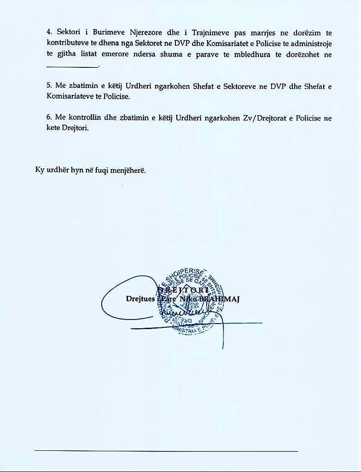 Mbajtja e pages per policet, urdhri Niko Brahimaj1