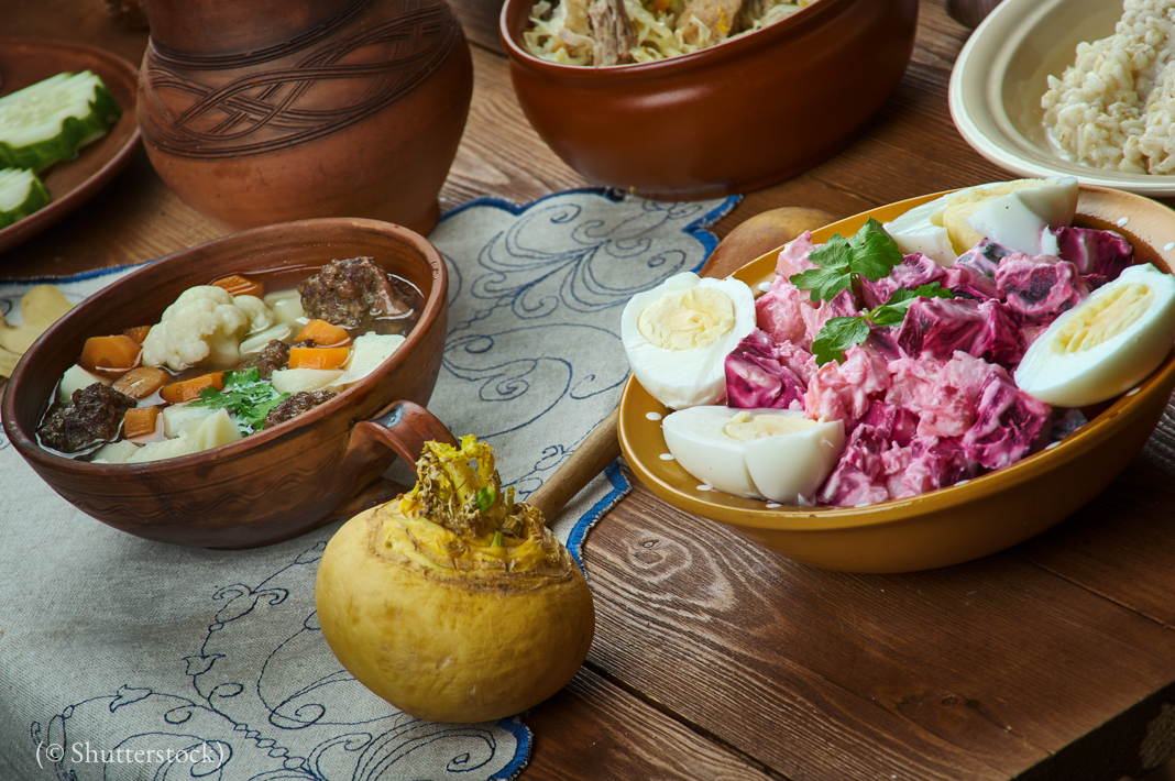 Estonian cuisine, Traditional assorted dishes, Top view. (© Shutterstock)