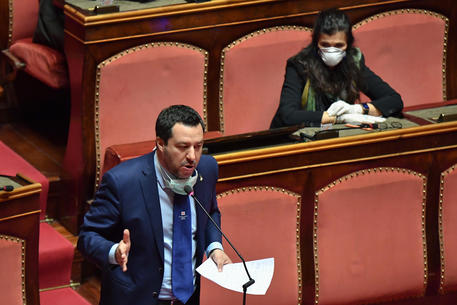 Secretary of Lega party Matteo Salvini, delivers her speech on occasion of the debate on the report to the Italian Senate by the Italian Prime Minister, Giuseppe Conte, on the measures taken to counter the spread of the coronavirus in Italy, Rome, 26 March 2020. ANSA/ALESSANDRO DI MEO