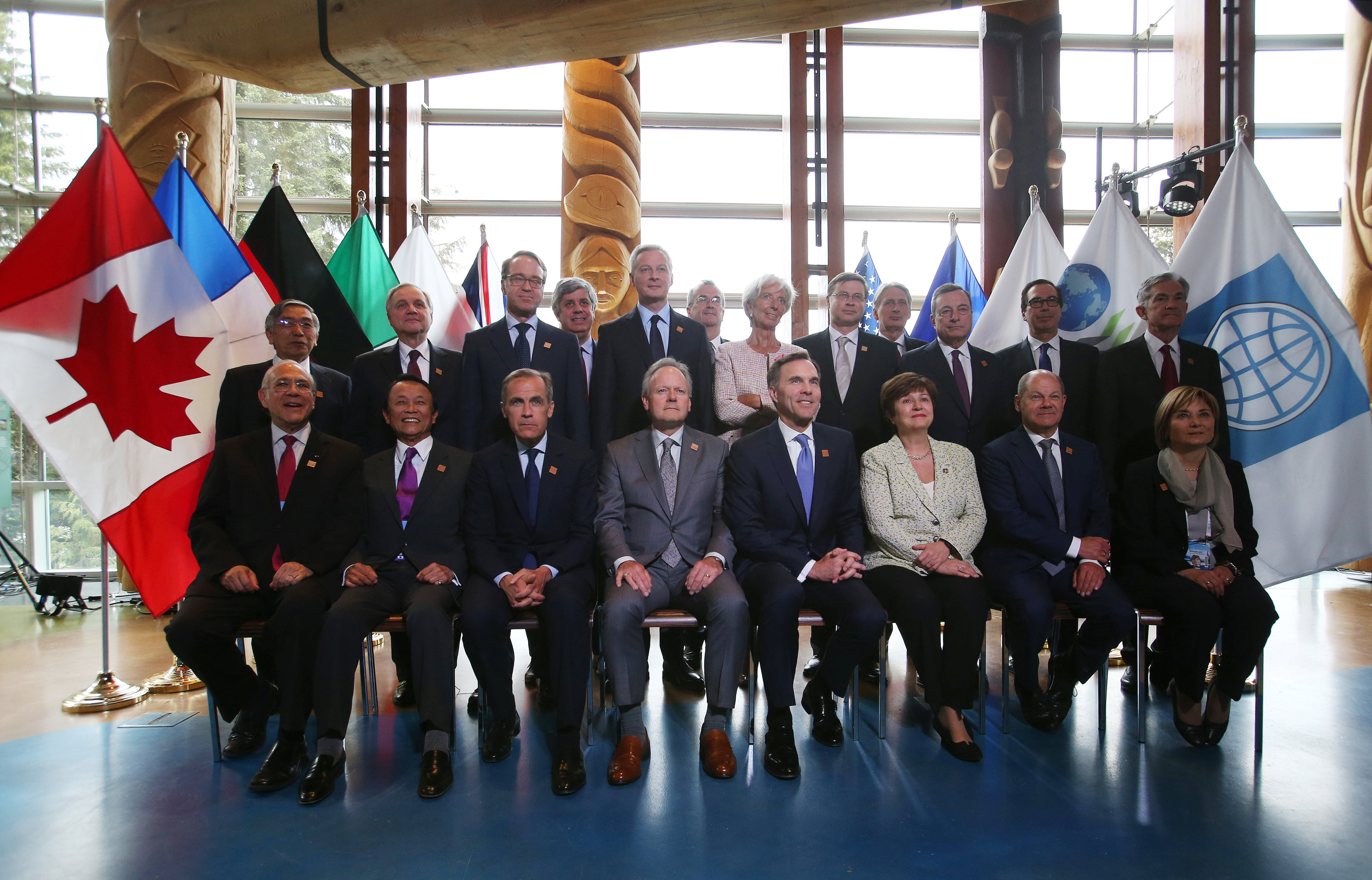 Delegates pose for an official photo at the G7 Finance Ministers Summit in Whistler,