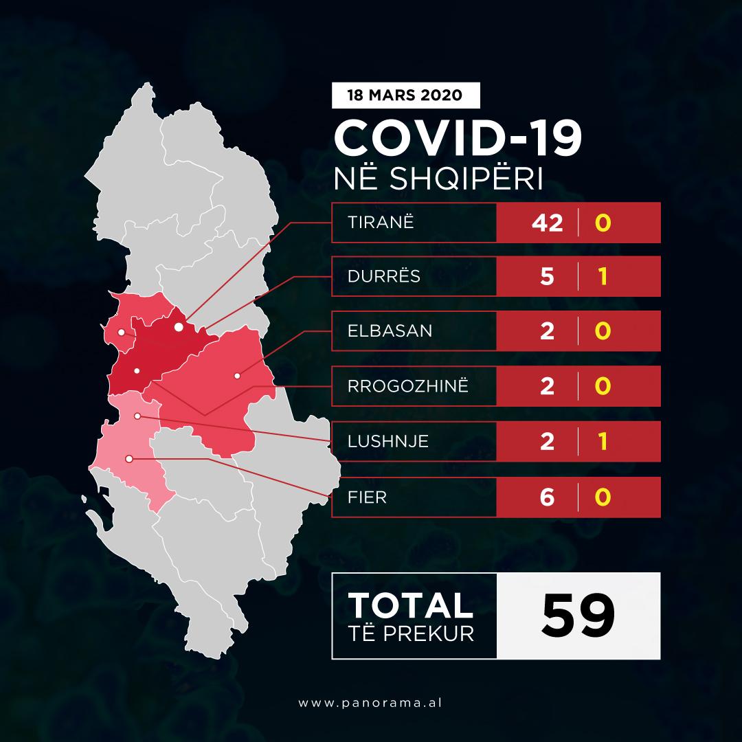 Harta e perhapjes se Koronavirusit 18 mars