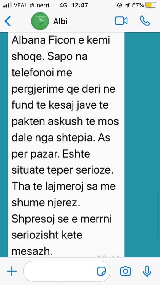 albana fico sms qytetar
