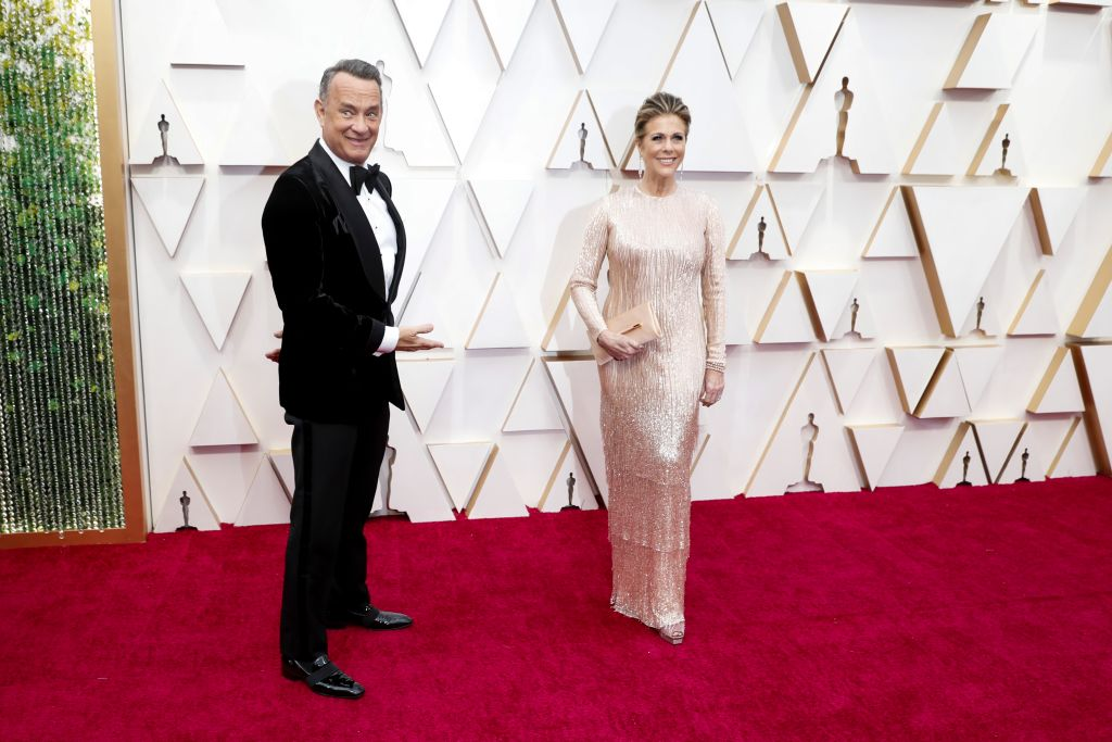 HOLLYWOOD, CA  February 9, 2020: Tom Hanks and Rita Wilsonarriving at the 92nd Academy Awards on Sunday, February 9, 2020 at the Dolby Theatre at Hollywood & Highland Center in Hollywood, CA.(Jay L. Clendenin / Los Angeles Times)