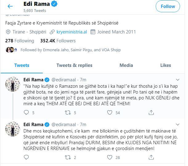 EdI rama twitter- O Ramazon