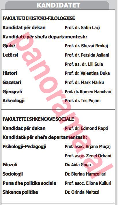 dokument kandidate per dekane dhe shefa departamenti