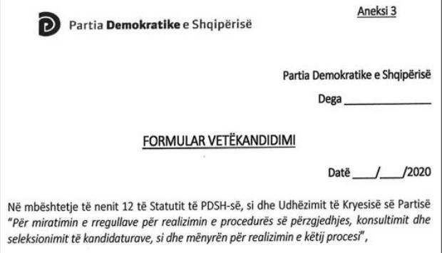 Faksimile e formularit të vetëkandidimit