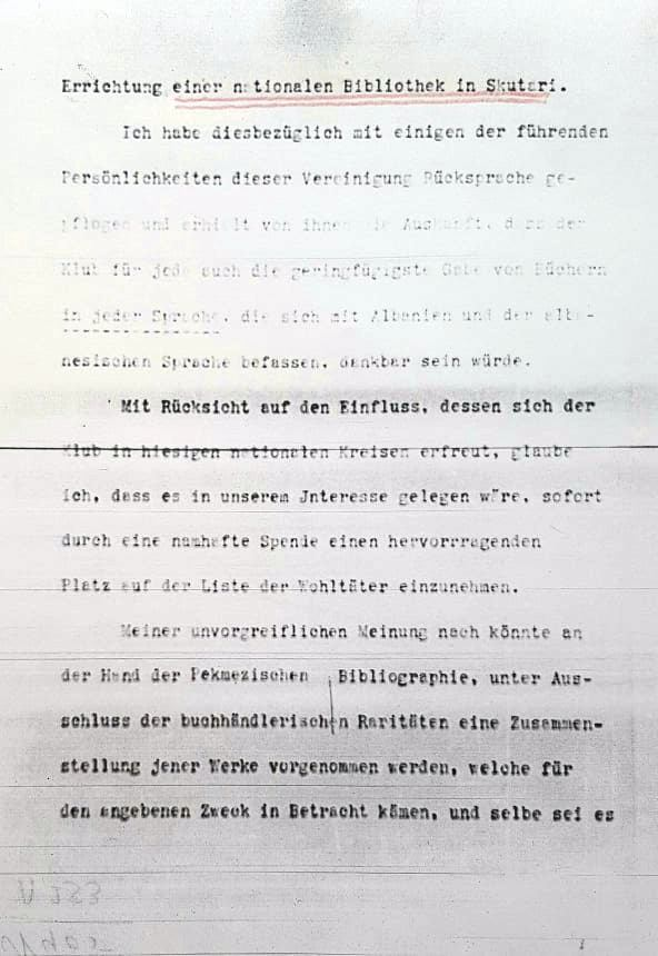 Faksimile e telegramit të 8 shkurtit 1912 ku bëhet fjalë për projektin e një biblioteke kombëtare në Shkodër
