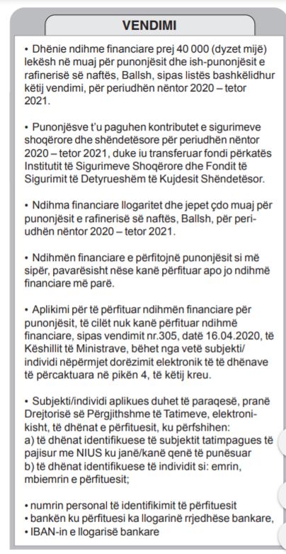 page naftetare vendimi qeveria