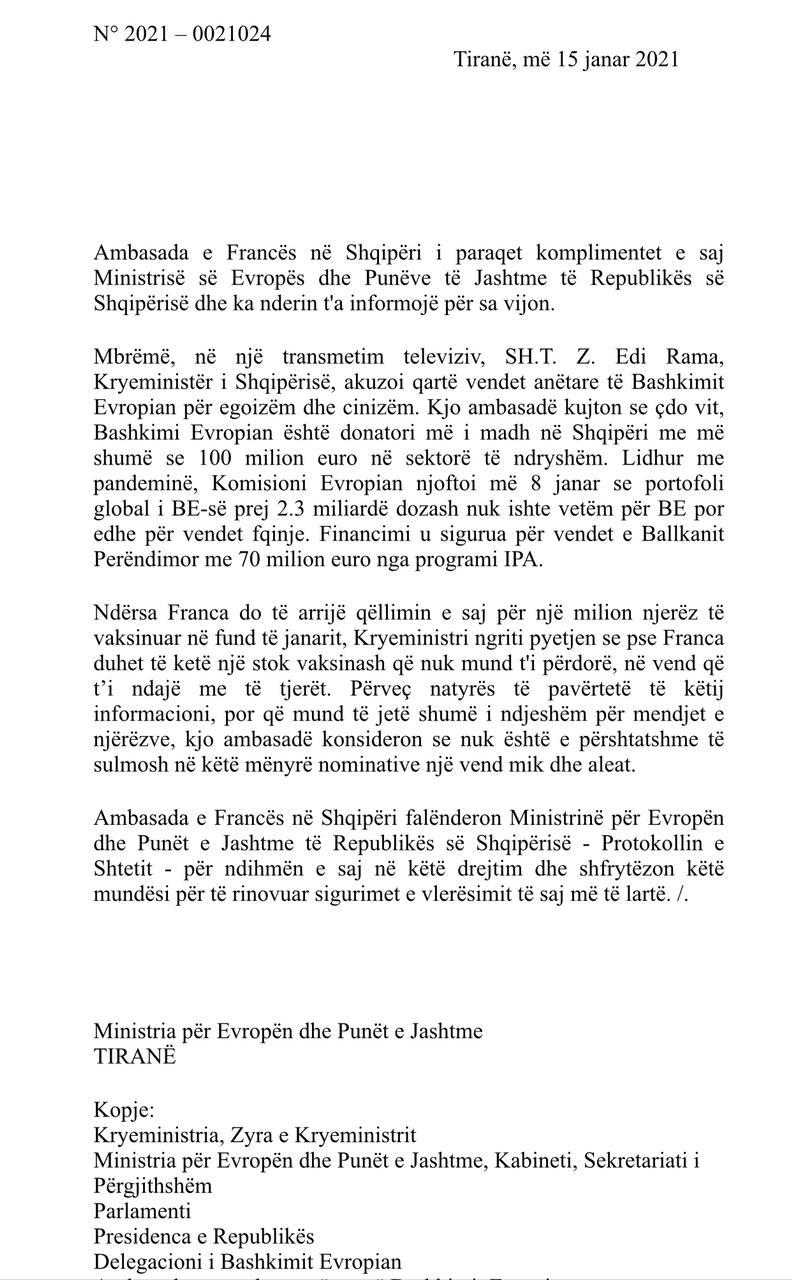 Letra e plote e Ambasades Franceze