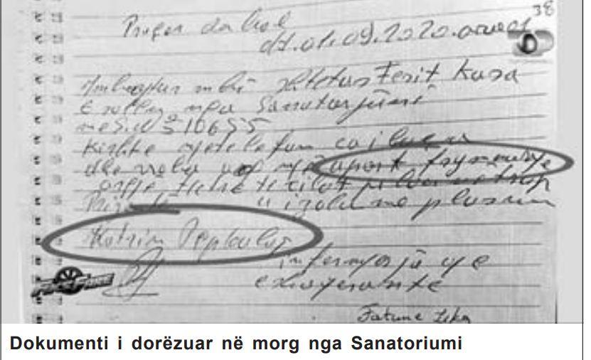 dokumenti i dorezuar ne morg nga sanatoriumi
