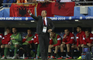19.06.2016, Stade des Lumieres, Lyon, FRA, UEFA EURO EM Europameisterschaft Fussball Frankreich, Rumaenien vs Albanien, Gruppe A, im Bild Albania Manager Gianni De Biasi // Albania Manager Gianni De Biasi during Group A match between Romania and Albania of the UEFA EURO 2016 France at the Stade des Lumieres in Lyon, France on 2016/06/19. Pictures © 2016, Lyon PUBLICATIONxNOTxINxAUT EP_fil  19 06 2016 Stade the lumieres Lyon FRA UEFA Euro euro European Championship Football France RUMAENIEN vs Albania Group A in Picture Albania Manager Gianni de Biasi Albania Manager Gianni de Biasi during Group A Match between Romania and Albania of The UEFA Euro 2016 France AT The Stade the lumieres in Lyon France ON 2016 06 19 Pictures © 2016 Lyon PUBLICATIONxNOTxINxAUT EP_fil